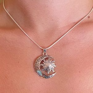 Sterling Silver Moon & Sun Necklace